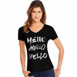 Hanes GT9337 Y07648 Women's Hello Hello Hello Short-Sleeve V-Neck Graphic Tee