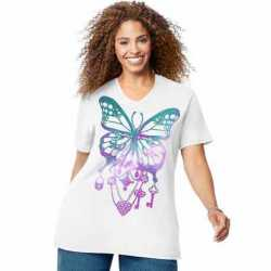 Just My Size GTJ181 Y07188 Bedecked Butterfly Short Sleeve Graphic Tee