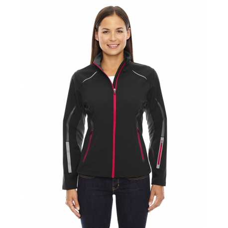 North End Sport Red 78678 Ladies' Pursuit Three-Layer Light Bonded Hybrid Soft Shell Jacket with Laser Perforation