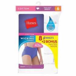 Hanes P840WH Women's Brief 8-Pack (6+2 Free Bonus Pack)