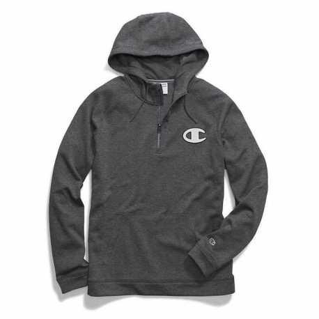 Champion S3155G 549347 Men's Stadium Fleece Quarter Zip Hood, Logo Applique