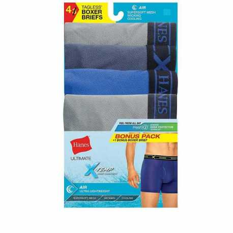 Hanes UABB4B P3+1 BONUS Blk/Gry X-Temp Air poly Boxer Brief