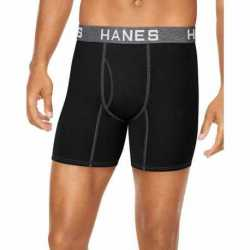 Hanes UFBBB4 Ultimate Men's Comfort Flex Fit Ultra Soft Cotton/Modal Boxer Briefs Black/Grey Assorted 4-Pack