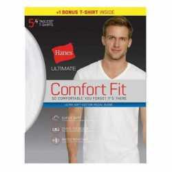 Hanes UFT25W Ultimate Men's Comfort Fit White V-Neck Undershirt 5-Pack (4 + 1 Free Bonus Pack)