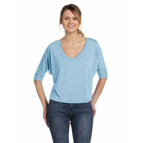 Bella + Canvas 8825 Ladies' Flowy Boxy Half-Sleeve V-Neck T-Shirt