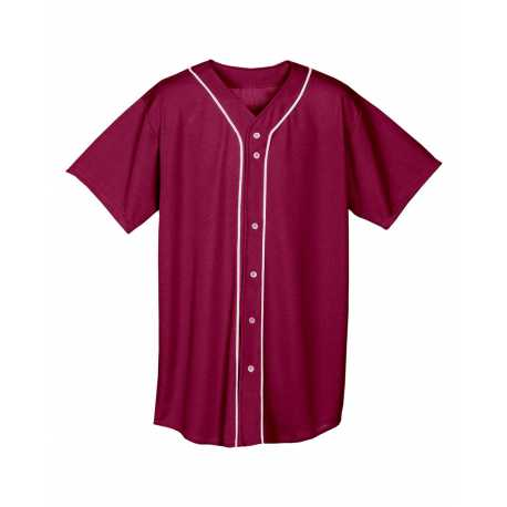 A4 NB4184 Youth Shorts Sleeve Full Button Baseball Top
