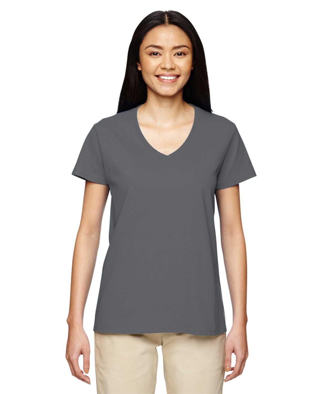 Gildan g500vl ladies 39 heavy cotton 5 3 oz v neck t shirt for Thick white cotton t shirt