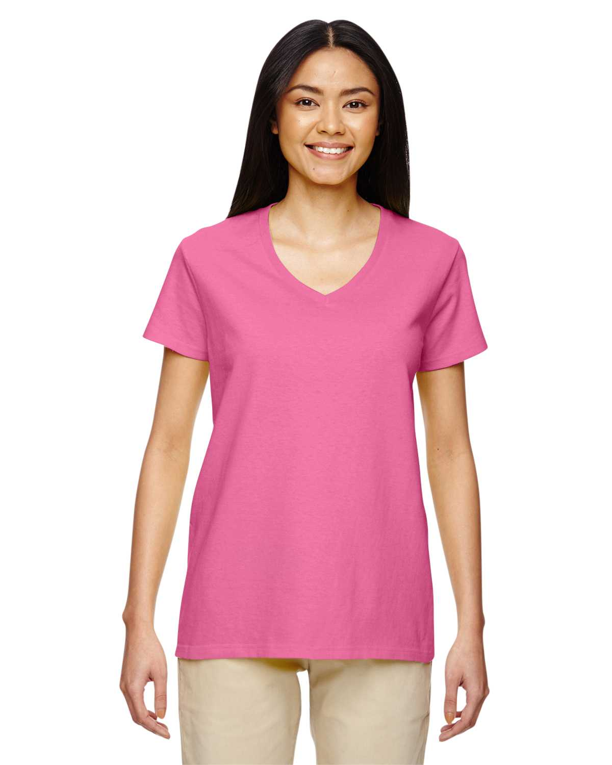 Gildan g500vl ladies 39 heavy cotton 5 3 oz v neck t shirt for Thick v neck t shirts