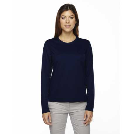 Core365 78199 Ladies' Agility Performance Long-Sleeve Pique Crewneck