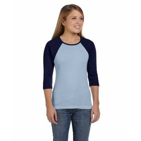 Bella + Canvas B2000 Ladies' Baby Rib 3/4-Sleeve Contrast Raglan T-Shirt