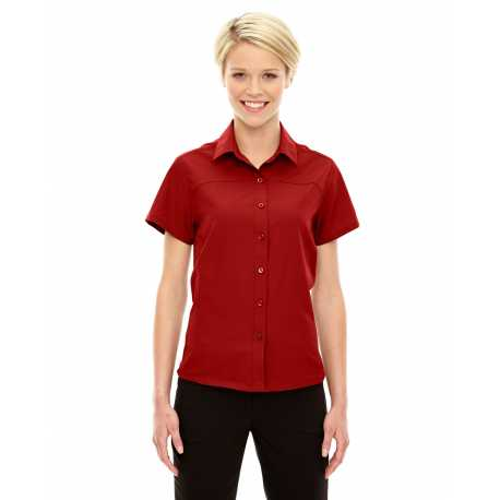 North End Sport Red 78675 Ladies' Charge Recycled Polyester Performance Short-Sleeve Shirt