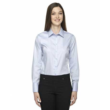 North End Sport Blue 78673 Ladies' Boulevard Wrinkle-Free Two-Ply 80's Cotton Dobby Taped Shirt with Oxford Twill
