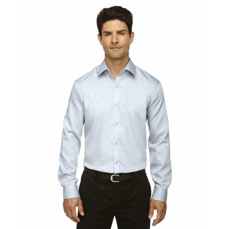 North End Sport Blue 88673 Men's Boulevard Wrinkle-Free Two-Ply 80's Cotton Dobby Taped Shirt with Oxford Twill