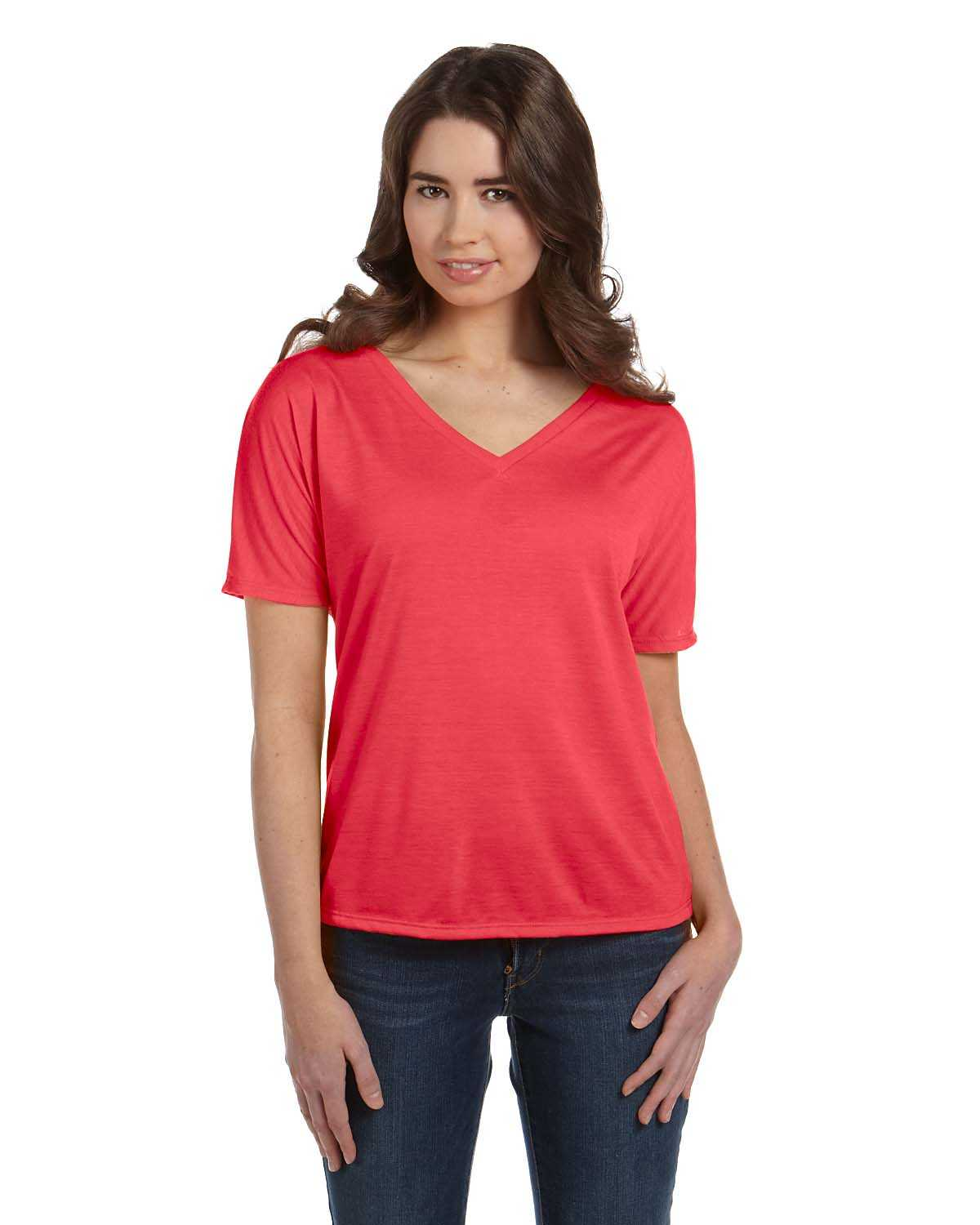 Bella canvas 8815 ladies 39 slouchy v neck t shirt for Thick v neck t shirts