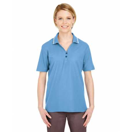 UltraClub 8546 Ladies' Short-Sleeve Whisper Pique Polo with Tipped Collar
