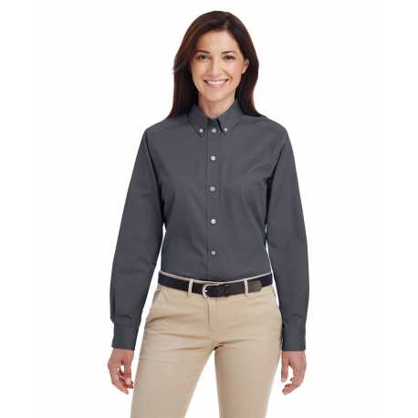 Harriton M581W Ladies' Foundation 100% Cotton Long-Sleeve Twill Shirt with Teflon