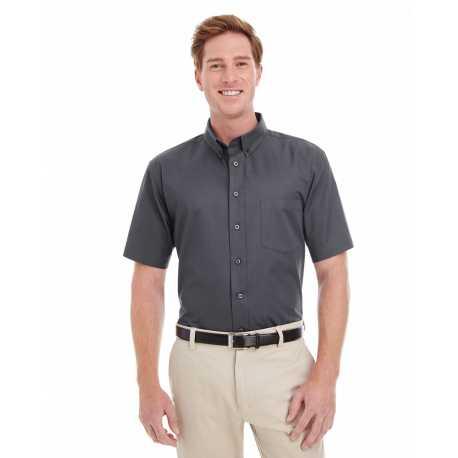Harriton M582 Men's Foundation 100% Cotton Short-Sleeve Twill Shirt Teflon