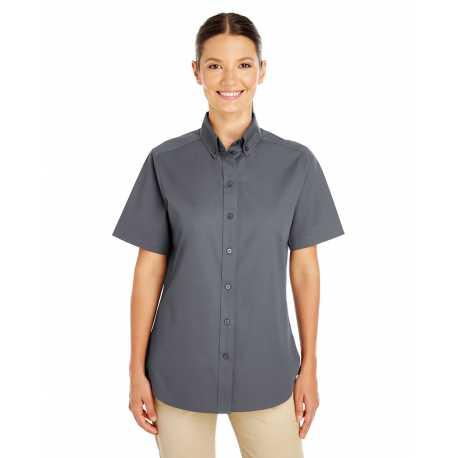 Harriton M582W Ladies' Foundation 100% Cotton Short-Sleeve Twill Shirt Teflon