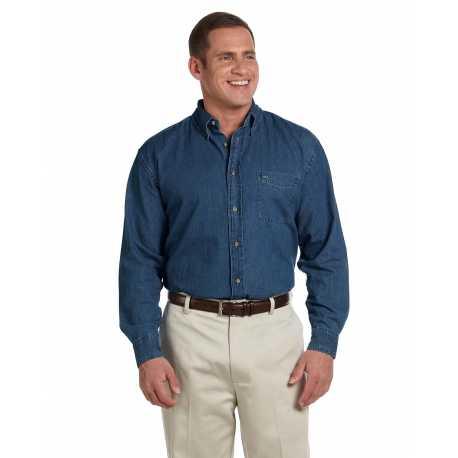 Harriton M550T Men's Tall 6.5 oz. Long-Sleeve Denim Shirt