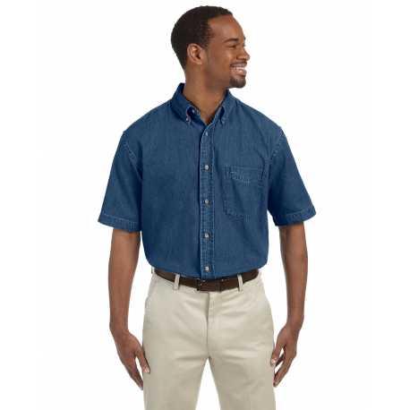 Harriton M550S Men's 6.5 oz. Short-Sleeve Denim Shirt