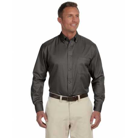 Harriton M500T Men's Tall Easy Blend Long-Sleeve Twill Shirt with Stain-Release