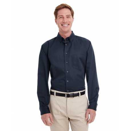 Harriton M581T Men's Tall Foundation 100% Cotton Long-Sleeve Twill Shirt with Teflon